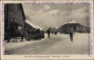 Ak Skaistkalne Schönberg Lettland, Straßenpartie, Pferdeschlitten