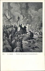 Künstler Ak Dore, G., Entrée des Croisés à Constantinople
