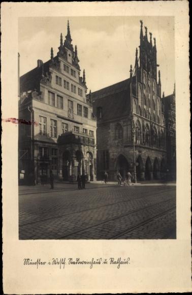 Ak Münster in Westfalen, Stadtweinhaus und Rathaus