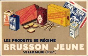 Künstler Ak Reklame, Les Produits de Regime Brusson Jeune, Villemur, Biscottes grillees