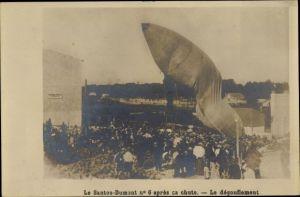 Ak Aviation, Le Santos Dumont No. 6 apres ca chute, Le degonflement, Luftschiff