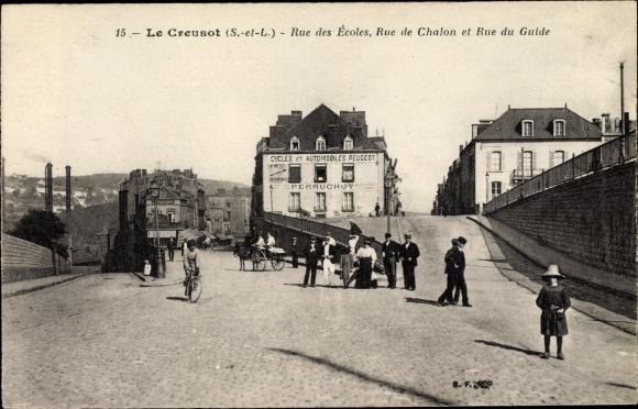 Ak Le Creusot Saône et Loire, Rue des Ecoles, Rue de Chalon, Rue du Guide