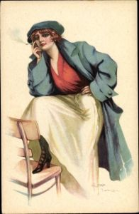 Künstler Ak Junge Frau, Weißer Rock, Mütze, Zigarette rauchend