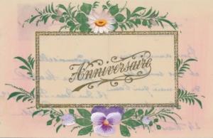 Zelluloid Ak Glückwunsch Geburtstag, Margerite, Stiefmütterchen