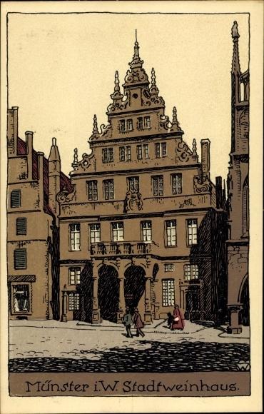 Steindruck Ak Münster in Westfalen, Stadtweinhaus