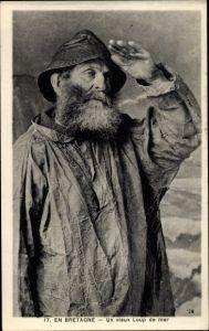 Ak un vieux Loup de Mer en Bretagne, französischer Seewolf der Bretagne, Seemann, Portrait