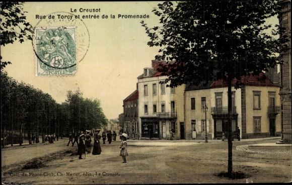 Ak Le Creusot Saône et Loire, Rue de Torcy, Entree de la Promenade
