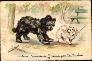 Künstler Ak Bouret, Germaine, Non, monsieur, j'aime pas les barbus, Hunde
