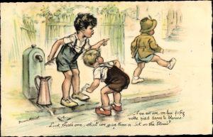 Künstler Ak Bouret, Germaine, Kinder an einer Wasserpumpe