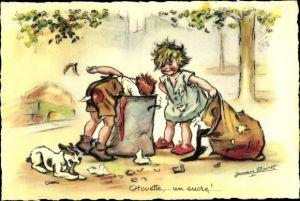 Künstler Ak Bouret, Germaine, Chouette, un sucre, Kinder an einer Mülltonne