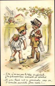 Künstler Ak Bouret, Germaine, Si tu n'avais pas le képi de général, Kinder spielen Krieg
