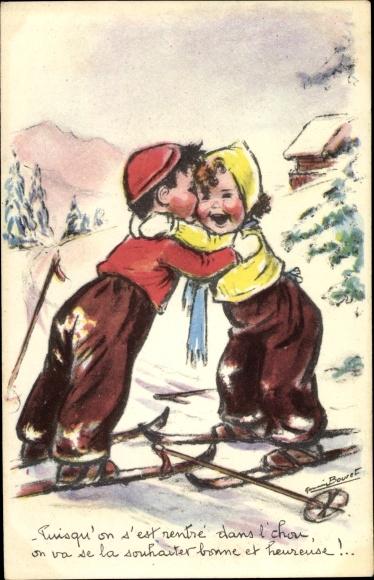 Künstler Ak Bouret, Germaine, Puisqu'on s'est rentré dans l'chou, Kinder auf Skiern