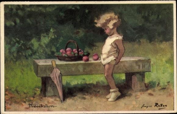 Künstler Ak Redon, Hésitation, Zögerlichkeit, Mädchen, Äpfel