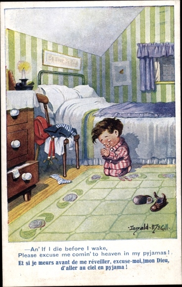 Künstler Ak McGill, Donald, betender Junge am Bett