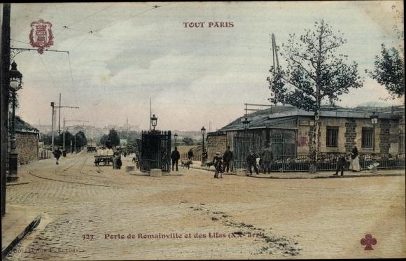 Ak Paris Ménilmontant, Porte de Romainville et des Lilas