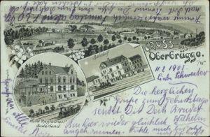 Mondschein Litho Oberbrügge Halver im Märkischen Kreis, Bahnhof, Hotel Restaurant Süderland