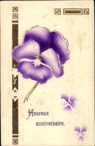 Präge Ak Glückwunsch Geburtstag, Heureux anniversaire, Stiefmütterchen, Blume