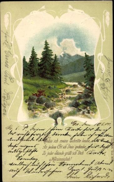 Passepartout Präge Gedicht Litho Wohin Ich Meine Schritte Lenke Landschaft Mit Fluss Und Bergen