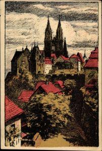 Steindruck Ak Barth, Artur, Meißen in Sachsen, Teilansicht der Stadt mit Dom