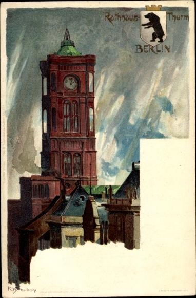 Künstler Wappen Litho Kley, Heinrich, Berlin, Rotes Rathaus, Turm