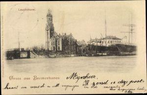 Ak Bremerhaven, Blick vom Wasser aus zum Leuchtturm, Boote, Gebäude