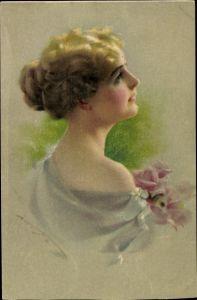 Künstler Ak Portrait einer jungen Frau mit hochgesteckten Haaren, Rückansicht, Munk