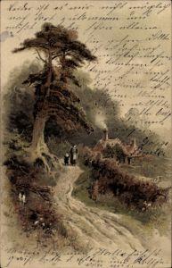 Künstler Litho Hayes, F. W., Landschaft mit einem Haus, Frau mit Kind auf dem Weg