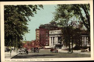 Ak Ottawa Ontario Kanada, Rideau Street showing Union Station, Bahnhof, Straßenseite