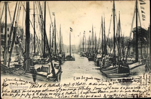 Ak Groningen Niederlande, Hafenpartie