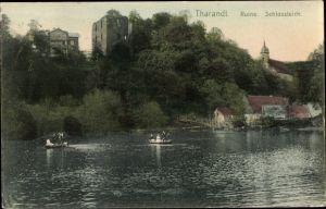 Ak Tharandt im Erzgebirge, Ruine, Schlossteich, Ruderpartie