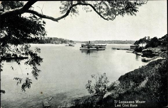 Ak St. Leonards Wharf Australien, Lane Cove River