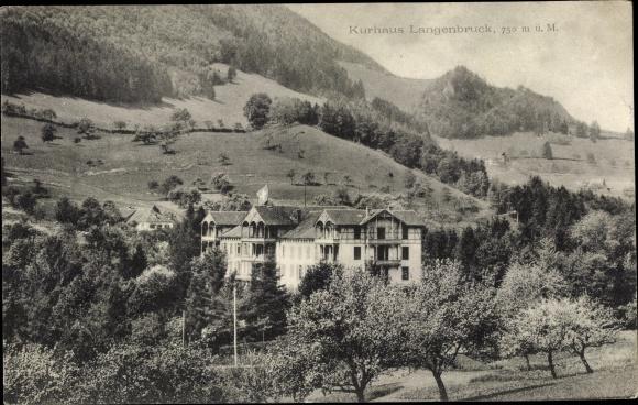 Ak Langenbruck Waldenburg Basel Landschaft, Kurhaus, Umgebung, Wald