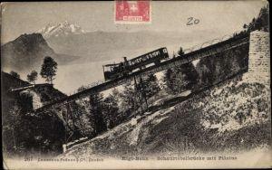 Ak Schweiz, Rigi Bahn, Schnurtobelbrücke, Pilatus, Zahnradbahn