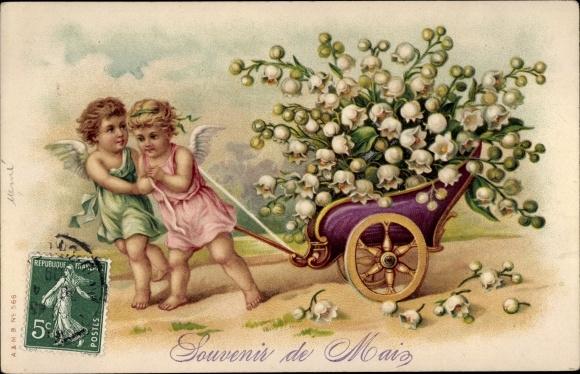 Litho Souvenir de Mai, Engel ziehen Wagen mit Maiglöckchen