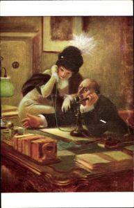 Künstler Ak Guillaume, A., L'Egerie, Mann am Telefon, Frau, Schreibtisch
