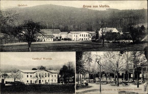Ak Wurbis Crostau Schirgiswalde Kirschau Sachsen, Panorama, Bieleloh, Gasthof Wurbis, Konzertgarten