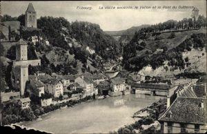 Ak Fribourg Kt. Freiburg Schweiz, La vieille enceinte, le Vallin et le Pont du Gutteron