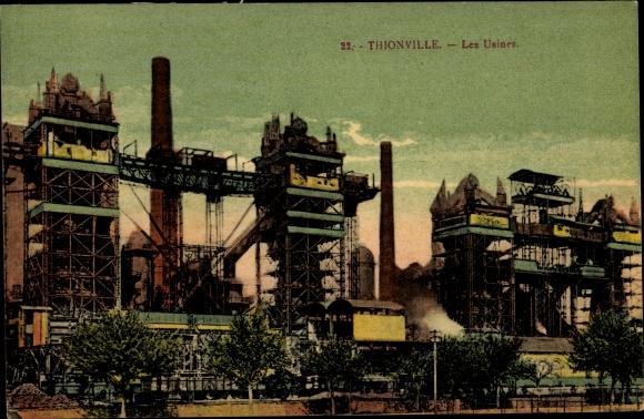Ak Thionville Diedenhofen Lothringen Moselle, Les Usines, Fabrikgelände