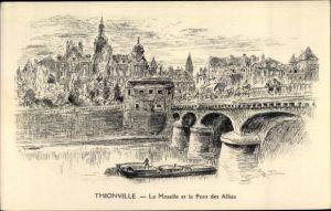 Künstler Ak Thionville Diedenhofen Lothringen Moselle, La Moselle et le Pont des Alliés