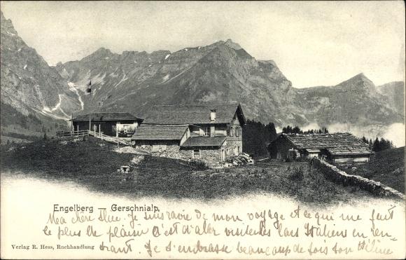Ak Engelberg Kt. Obwalden Schweiz, Gerschnialp, Totalansicht
