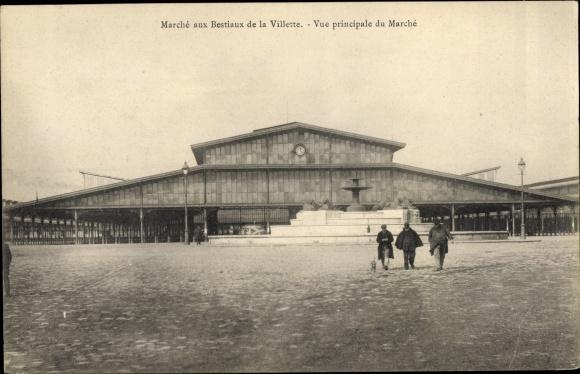 Ak Paris XIX., Marche aux Bestiaux de la Villette, Vue principale du Marche