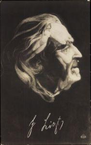 Künstler Ak Franz Liszt, Liszt Ferencz, Österreichisch-ungarischer Komponist, Portrait aus Körpern
