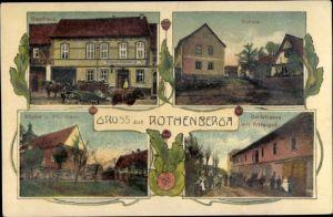 Ak Rastenberg Rothenberga in Thüringen, Gasthaus, Schule, Kirche, Pfarrhaus, Dorfstraße, Rittergut