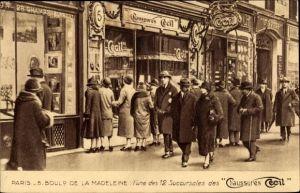 Ak Paris VIII., Boulevard de la Madeleine, Chaussures Cecil, Schuhhandlung, Reklame