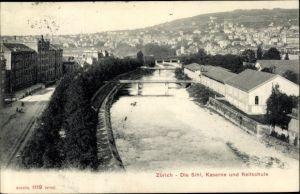 Ak Zürich Stadt Schweiz, Die Sihl, Kaserne und Reitschule