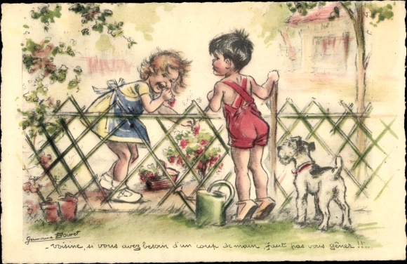 Künstler Ak Bouret, Germaine, Kinder am Gartenzaun, Beeren, Gießkanne, Hund