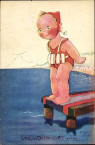Künstler Ak Mallet, Beatrice, Mädchen im Badeanzug am Seesteg, Strand