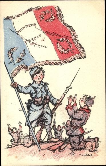 Künstler Ak Poulbot, F., Soldat francais avec le Drapeau, soldat alemand, capitulation