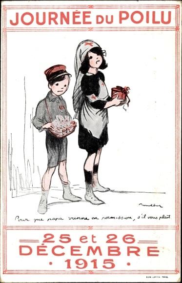Künstler Ak Poulbot, F., Journee du Poilu, 25 et 26 Decembre 1915, enfants