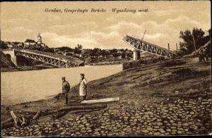 Ak Hrodna Grodno Weißrussland, Gesprengte Brücke
